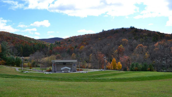 Blue Ridge Music Center amphitheater with mountains behind it