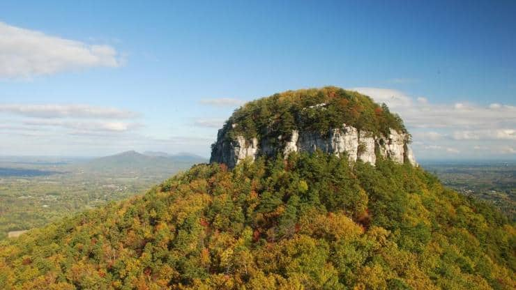 View of Pilot Mountain during autumn