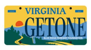 Sample Virginia Parkway License plate featuring a sunset on the Parkway